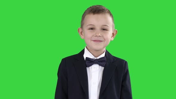 Thumbnail for Smiling Little Boy in Formal Clothes Standing on a Green Screen, Chroma Key.