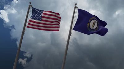 Waving Flags Of The United States And The Kentucky State Flag 4K