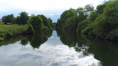 Summer Landscape of Small River