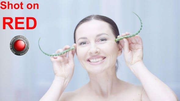 Thumbnail for Woman with Aloe Vera Having Fun A Concept Of Organic Body Care