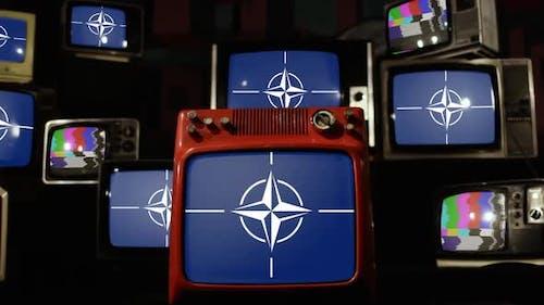 NATO flags and Retro TVs.