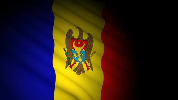 Moldova Flag Blowing in Wind