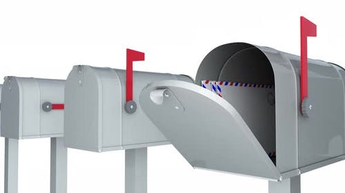 Mailboxes Isolated on the White Background with Arrived Letters and Postcards