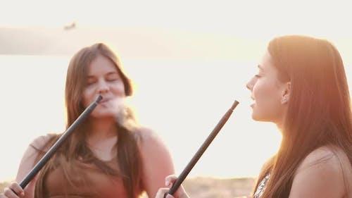 European Girls Are Smoking Hookas and Talking
