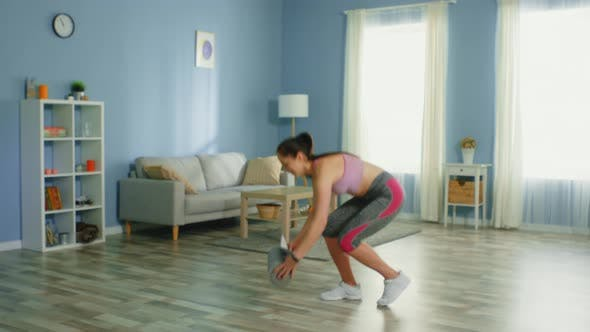 Thumbnail for Young Slim Woman Starts Workout