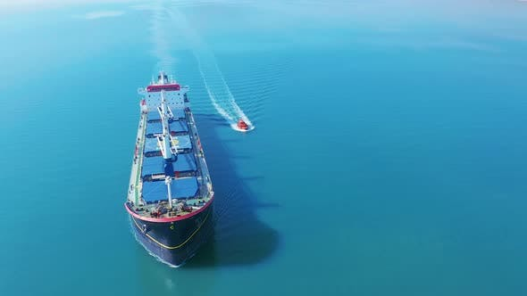 Thumbnail for Aerial Cinematic  with a Cargo Ship at Sea