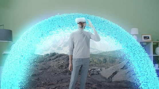 Mature Man Exploring Virtual Reality