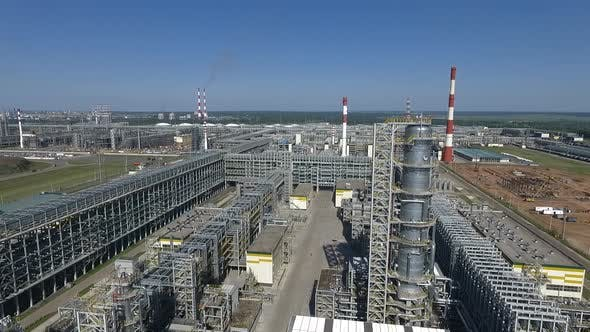 Facilities of Oil Refinery, Aerial View