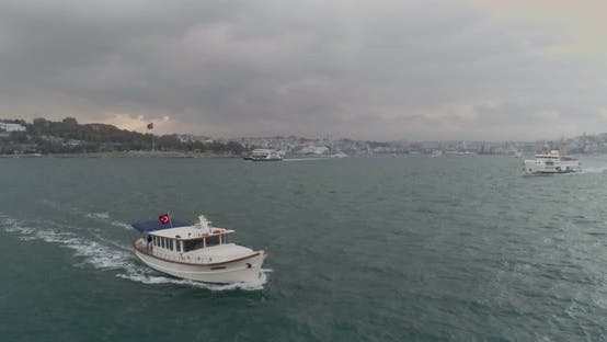 Thumbnail for Boat And Ferry Sailing Bosphorus Aerial View