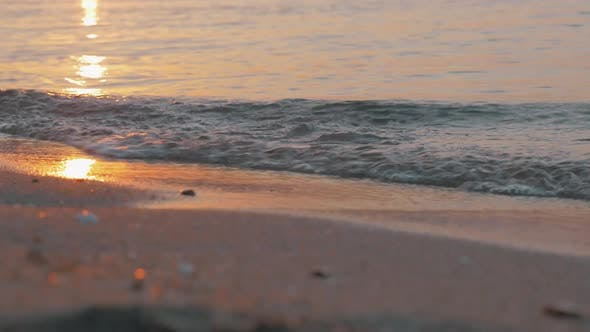 Thumbnail for Sea Waves Rolling on the Shore at Sunset