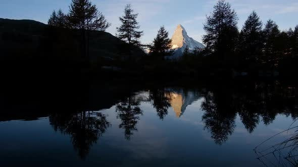 Thumbnail for Picturesque View of Matterhorn Peak and Grindjisee Lake in Swiss Alps