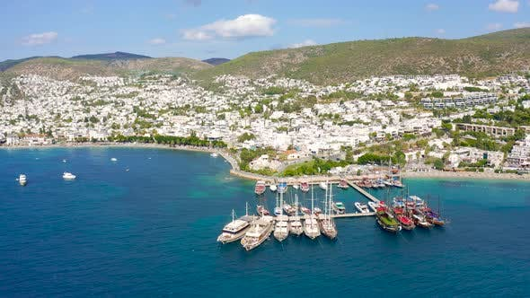 Aerial View of Bodrum Harbor and Sailboads on Turkish Riviera