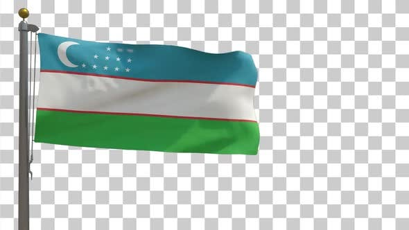 Uzbekistan Flag on Flagpole with Alpha Channel