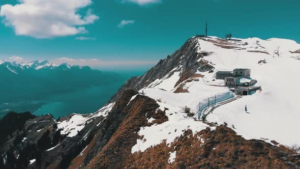 Thumbnail for Aerial Drone View on Snowy Peaks of Swiss Alps, Switzerland, Rochers-de-Naye Mountain Peak