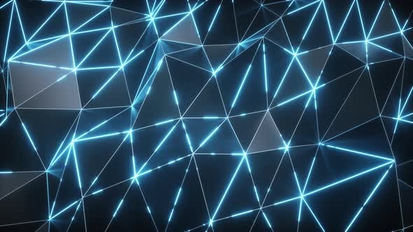 Thumbnail for Low-poly Dark Waving Surface with Glowing Blue Light