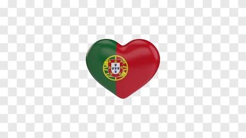 Portugal Flag on a Rotating 3D Heart