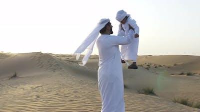 Father and kid on a safari