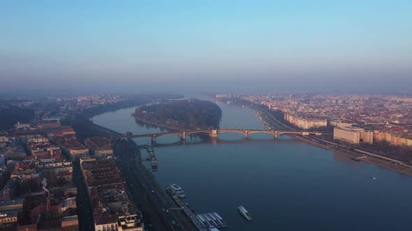 Thumbnail for Aerial View Danube River Budapest City
