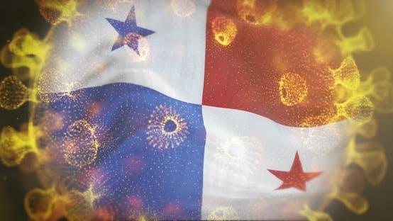 Panama Flag With Coronavirus Microbe Centered 4K