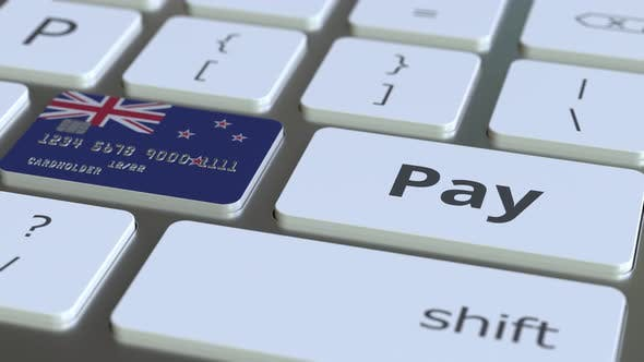 Thumbnail for Bank Card Featuring Flag of New Zealand As a Key on Keyboard