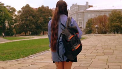 Unrecognizable Student Strolling