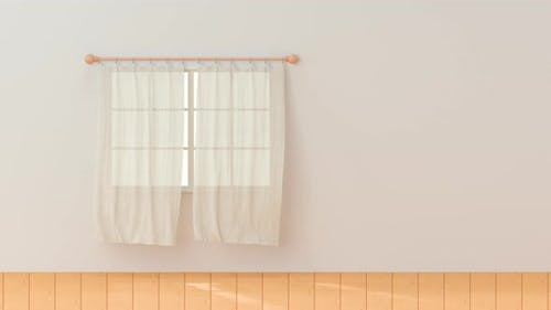 Blowing of the curtain, interior background.
