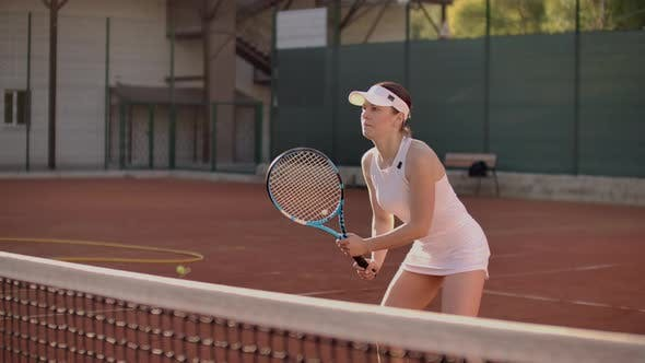 Thumbnail for Tennis Player Reaching To Hit Ball. Female Tennis Player Reaching To Hit the Tennis Ball on Court.
