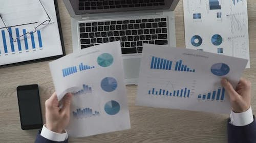 Businessperson Comparing Two Graphs and Entering Data on Laptop Computer