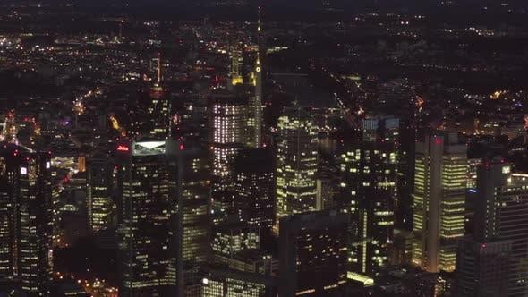 Thumbnail for AERIAL: Frankfurt Am Main, Germany Skyline at Night, Big City, Lights, Skyscraper