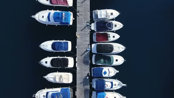 Cover Image for Aerial Flight Above Little Boats Floating In Harbor