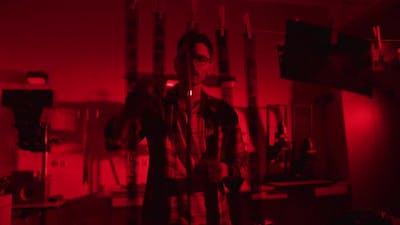 Man inside a darkroom