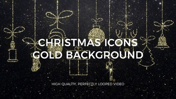 Thumbnail for Merry Christmas Icons Gold Background