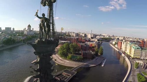 Peter the Great Statue Aerial view of Moscow landmark