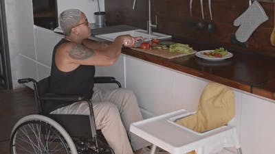 Handicapped Mother Making Food