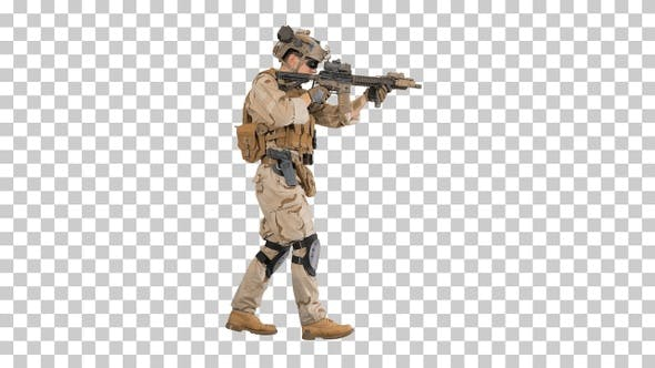 Soldier Walking and Aims through the Assault Rifle, Alpha Channel