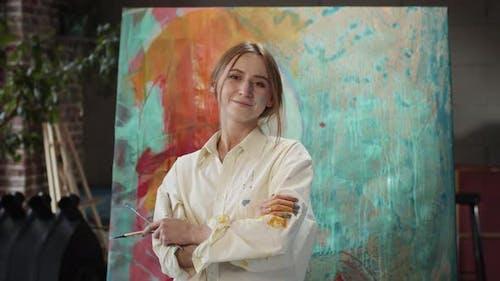 Girl Artist In Art Studio.