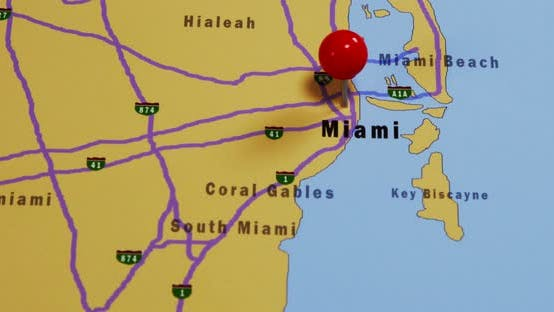 Thumbnail for Pushpin Pointing At Miami USA
