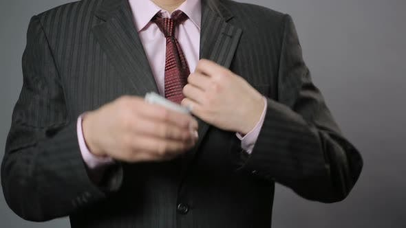 Thumbnail for Rich Male in Suit Counting Money and Giving 100 Dollar Tip to Someone, Close Up