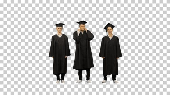 Three male students in graduation robes, Alpha Channel