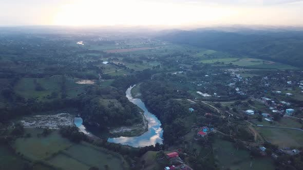4k 24fps River In The Morning With Drone Shoot With Sunrise In The Caribbean With Country Houses