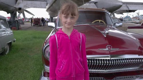 Girl And Retro Car