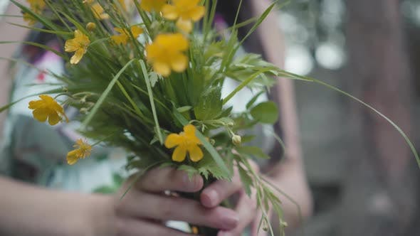 Thumbnail for Wildflowers in Female Hands Outdoors