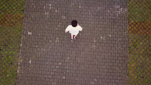 a Man Running a View From a Height