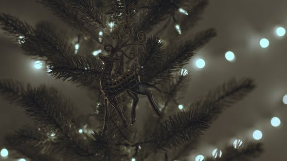 Thumbnail for Female Walking Decorating On Fir Tree
