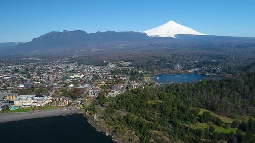 Lake District Villarrica Pucon Chile Aerial Flyover View From Above