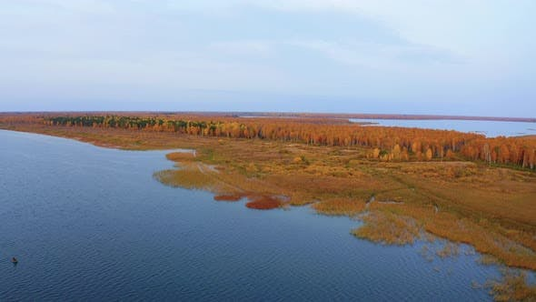 Aerial Top View of Beautiful Lake Surrounded By Colorful Forest in Autumn