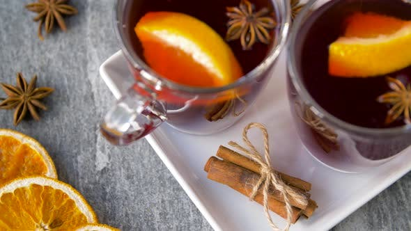 Thumbnail for Glasses of Hot Mulled Wine with Orange and Spices