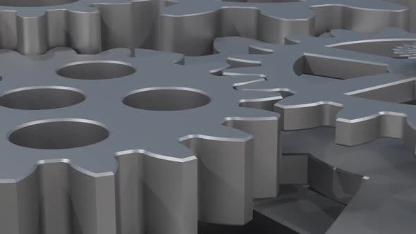 animated cogwheel background for intro, gears spinning. mechanics and engineering
