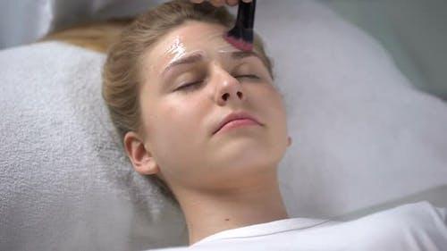 Worker of Beauty Salon Putting Moisturizing Mask on Face of Girl, Femininity