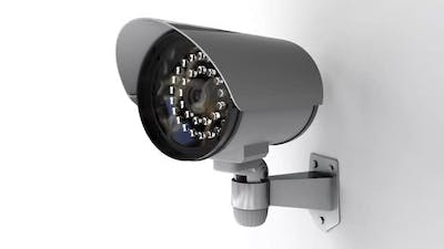 Security CCTV Camera on White Background Rotates and Monitoring for Crowd